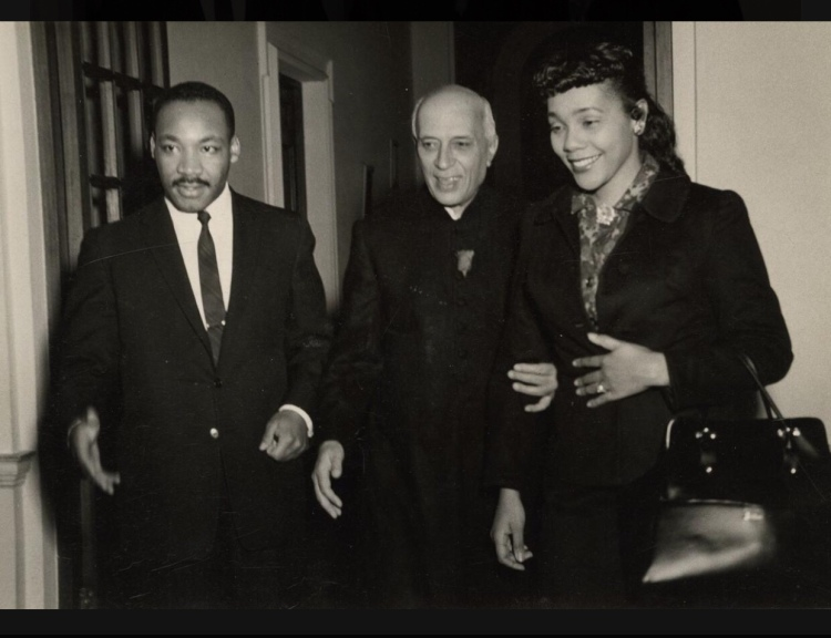 Martin Luther King, Jr. (left) and his wife Coretta Scott King are shown with the late Indian Prime Minister Jawaharlal Nehru